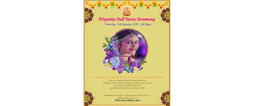 Half Saree / Langa Voni invitation card