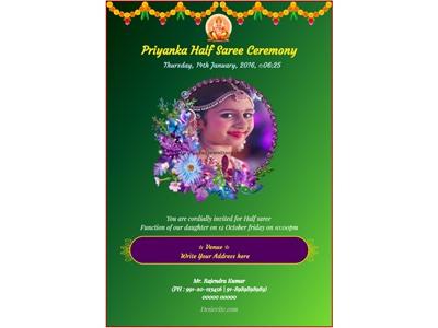 Half Saree / Langa Voni invitation card