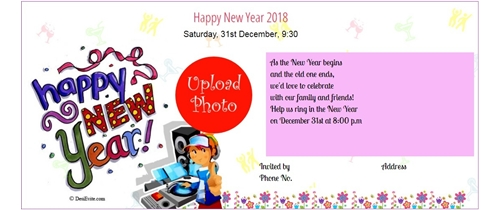 invitation with image let us raise a glass to the coming new year