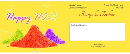 Free Holi Festivals Invitation Card Online Invitations