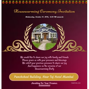 Housewarming Ceremony With Kalash Invitation Card