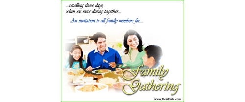 Invitation for all Family members for  Gathering
