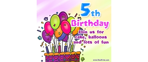 5th Birthday Join us for cake balloons and lots of fun