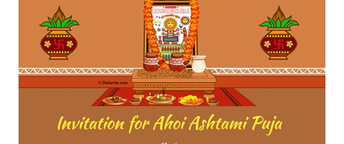 Invitation for Ahoi Ashtami Puja