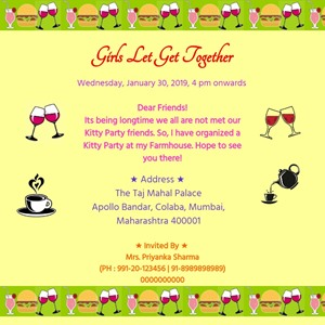 Free Online Kitty Party Invitations
