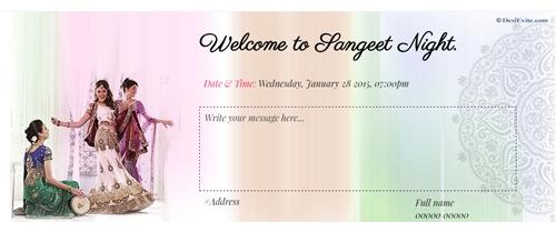 free Ladies Sangeet/Mehndi ceremony Invitation Card \u0026 Online