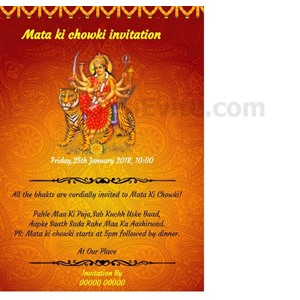 Free mata ki chowkibhajan sandhya invitation card online invitations whatsapp mata ki chowki invitation card stopboris Image collections
