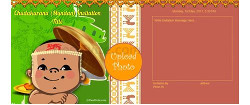 Invitation With Image South Indian Mundan Ceremony Invitation Cards