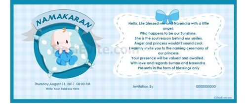 Free English Naming Ceremony Namakaran Invitation Card Online