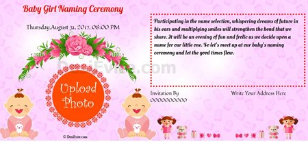 Invitation With Image Baby Girl Naming Ceremony