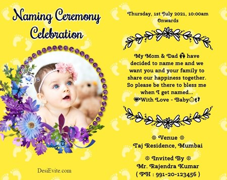 Free Baby Girl Naming Ceremony Invitation Card Online