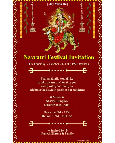 Navratri Festival Invitation card whatsapp