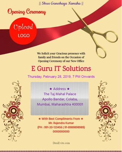 Free Office Inauguration Opening Invitation Card Online