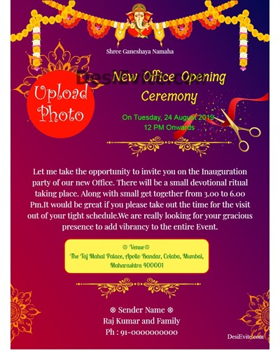Opening Invitation Card