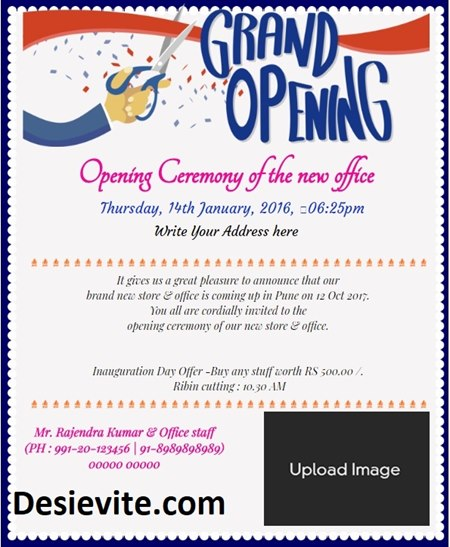 Office Opening Ceremony Invitation Card with ribbon cut