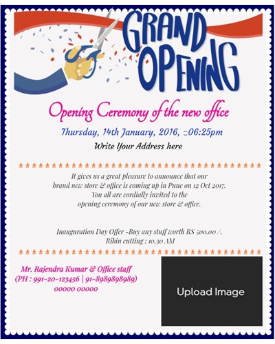 Charming Invitation With Image Office Opening Ceremony Invitation Card With Ribbon  Cut