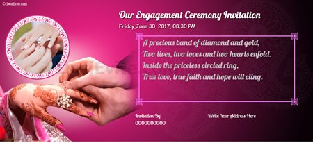 Invitation With Image Engegment Ceremony Invitation  Engagement Invitations Online Templates