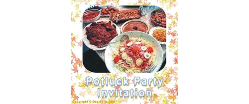 Friends com on for Potluck dinner  Party