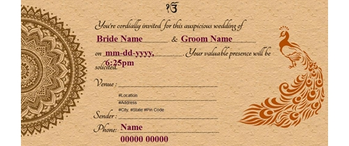 Free punjabi wedding india invitation card online invitations wedding invitation in punjabi stopboris Choice Image