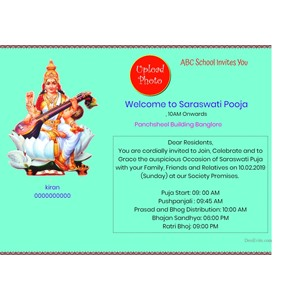 Welcome Saraswati Puja Celebration