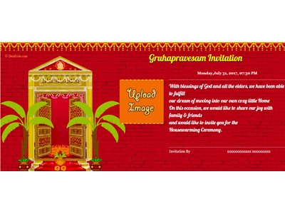 Free griha pravesh housewarming invitation card online invitations invitation with image gruhapravesh ceremony stopboris Image collections