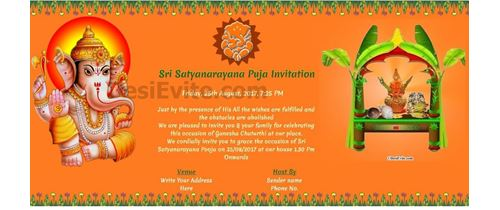 Free ganesh chaturthi invitation card online invitations satyanarayan and ganesh chaturthi stopboris Image collections