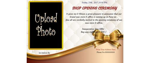 Invitation With Image Office Shop Inauguration Ceremony