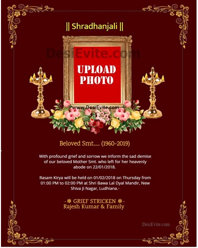 Shradhanjali-Invitation-Card,Samatsaarikam cards