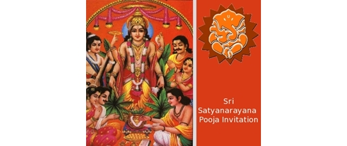 Sri Satyanarayan Puja Invitation theme with ganesh image