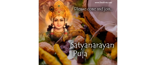 Please come and join Satyanarayan Puja Invitation