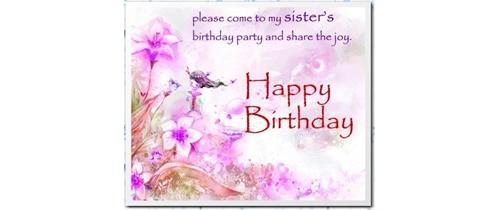 Sister Birthday Party Invitation