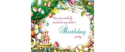 Sister's Birthday Party Invitation
