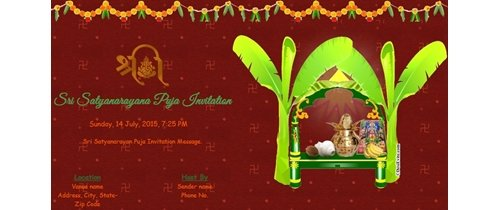 Sri Satyanarayana Puja Invitation