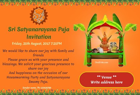 Free Satyanarayan Puja Invitation Card Online Invitations