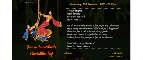Free teej festival invitation card online invitations join us to celebrate hartalika teej stopboris Images