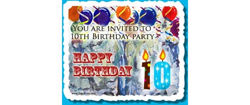 10th Birthday Party Invitation