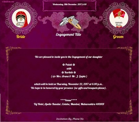 Invitation With Image Traditional Engagement Card  Engagement Invitations Online Templates