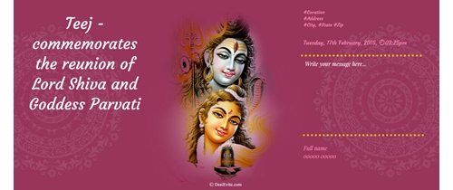 commomemorates the reunion of Lord Shiva and Goddess Parvati