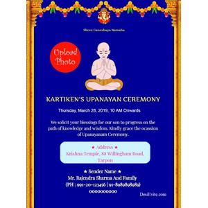 UPANAYANA CEREMONY Invitation