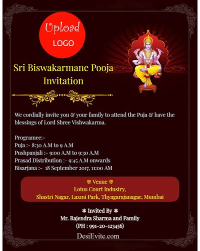 Vishwakarma Puja Invitation for firm/company with logo upload