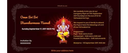 Vishwakarma Puja Invitation
