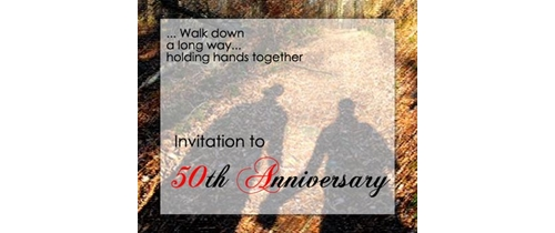 walk down a long way holding hands together 50th wedding Anniversary Invitation