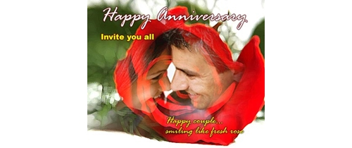 Happy Anniversary Invite you all, Happy couple smiling like fresh rose