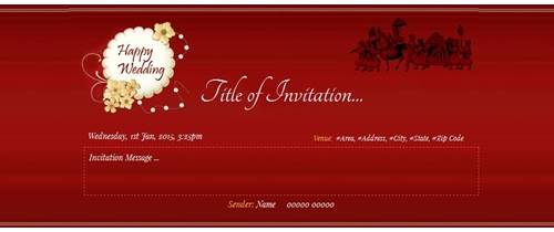 Wedding Invitation traditional theme with red background