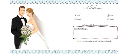Wedding Invitation theme couple with flower bouquet