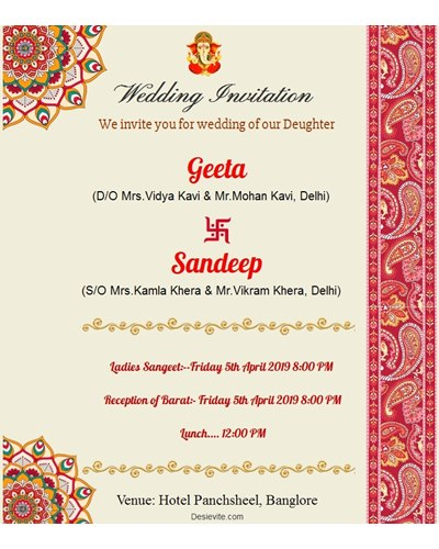 Wedding programs/functions invitation card