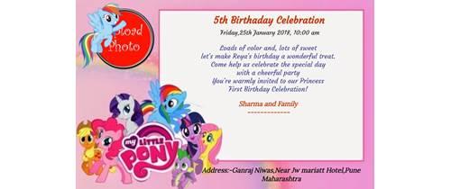 5th birthday Invitation pony theme