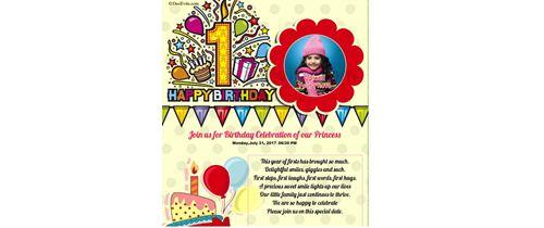 first birthday High Defination Invitation card