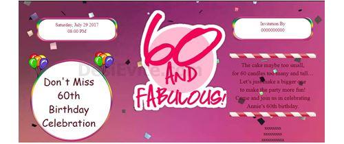 Celebrate 60th birthday invitation card