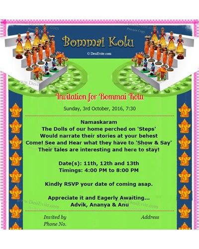Invitation for Bommai Golu and Thamboolam